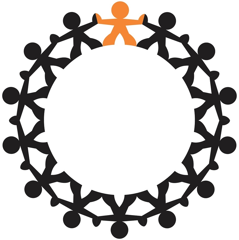Rond de personnage se tenant par la main avec l'un d'entre eux de couleur orange